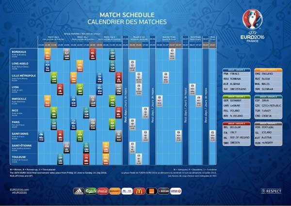 Offizieller UEFA EURO 2016 Spielplan als pdf zum Download
