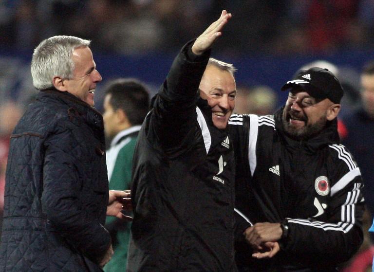 Giovanni De Biasi: Nationaltrainer von Albanien .AFP PHOTO / GENT SHKULLAKU