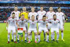 Ungarn beim Play-off Spiel gegen Norwegen in den weißen Auswärtstrikots. AFP PHOTO / NTB SCANPIX / VEGARD WIVESTAD GROETT