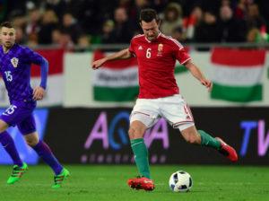 ungarischer Nationalspieler Akos Elek während des Spiels Ungarn gegen Kroatien am 26.03.2016. / AFP / ATTILA KISBENEDEK